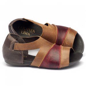 Rasteira Flat em couro marrom com vermelho 137074