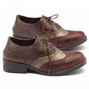 Sapato Retro Modelo Oxford em couro com salto de 3cm - Código - 137097