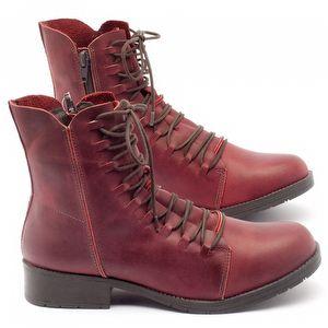Bota Cano Curto em couro vermelho - Código - 137099
