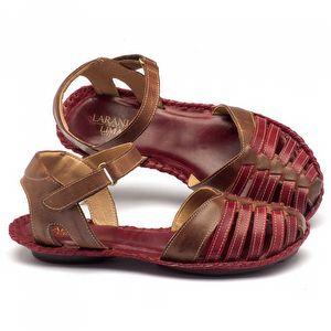 Rasteira Flat em couro marrom com vermelho 136027