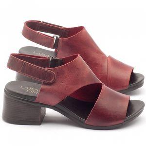 Sandália Boho com salto de 5cm em couro vermelho - Código - 137121