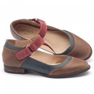 Sapato Retro Modelo boneca em couro marrom, azul e vermelho - Código - 9400
