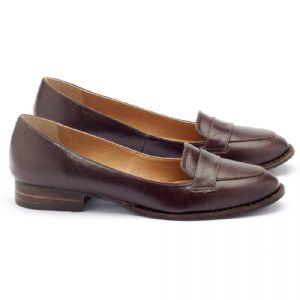 Sapato Reto Estilo Clássico com salto de 2cm em couro marrom 9374