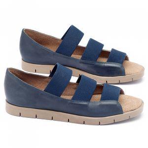 Rasteira Flat em couro azul 136049