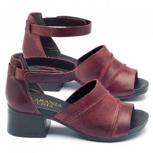 Sandália Salto Medio em couro vermelho 137079