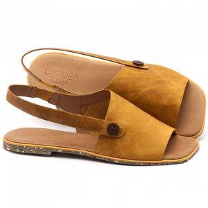 Rasteira Flat em couro amarelo - Código - 145018