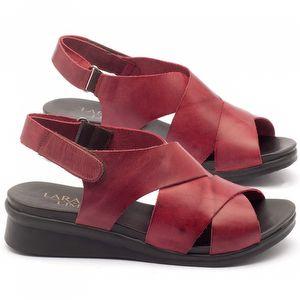 Rasteira Flat em couro vermelho - Código - 137137