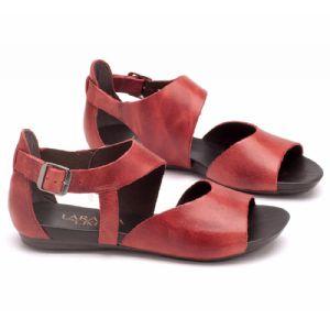 Rasteira Flat vermelha em couro 137021