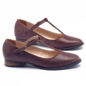 Sapato Fechado Modelo em couro bordô 9376