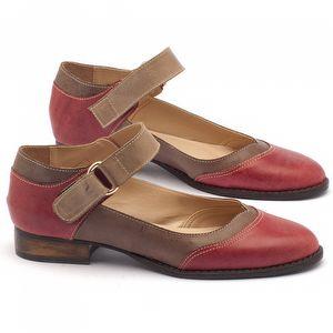 Sapato Fechado Modelo Oxford em couro marrom com vermelho - Código - 9400