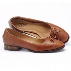 Sapato Retro Estilo Romântico com salto de 2cm em couro caramelo 9375