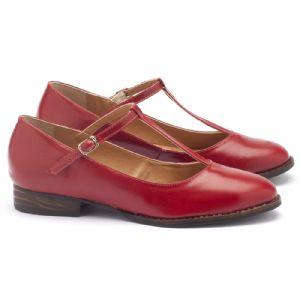 Sapato Retro Estilo Boneca com salto de 2cm em couro vermelho 9376