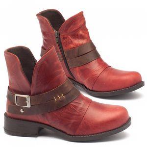 Bota Cano Curto em couro vermelho - código - 141025