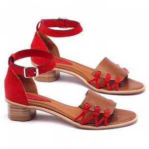 Sandália Salto Baixo em couro caramelo com vermelho 56118
