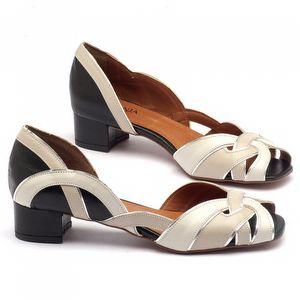 Sandália Salto baixo de 3cm em couro Preto, Off-White, Bege - 3485