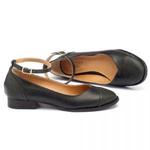 Sapato Retro Estilo Boneca em couro preto estonado 9379