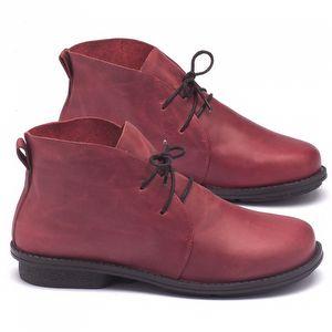Bota Cano Curto em couro vermelho - Código - 136055