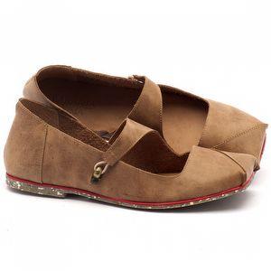 Sapato Fechado Estilo Boho-Chic em couro bege - Código - 145007