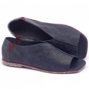 Rasteira Flat em couro azul - Código - 145001