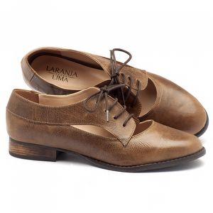 Sapato Retro Estilo Oxford em couro caramelo - Código - 9383