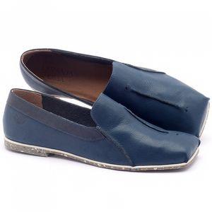 Sapato Fechado Estilo Boho-Chic em couro azul - Código - 145003