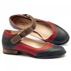 Sapato Retro Modelo em couro azul, vermelho, marrom - Código - 9400