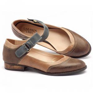 Sapato Retro Modelo boneca em couro café, bege, azul - Código - 9400