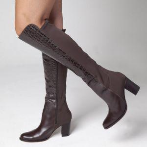 Bota Over The Knee Caf� zipper interi�o e solado em COURO 107326