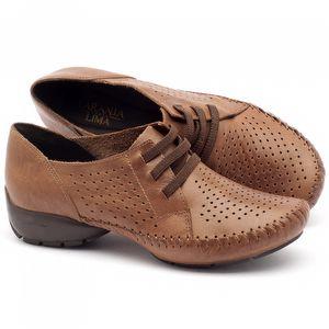 Sapato Retro Modelo em couro caramelo - Código - 136064