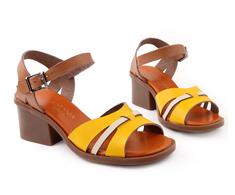 Sand�lia Salto Medio Amarelo Tiras 112008