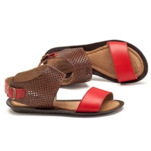 Rasteira Flat marrom com vermelho  136024