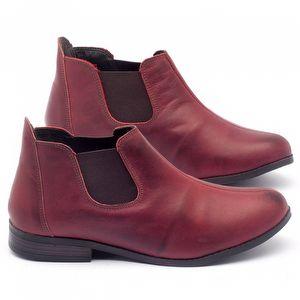 Bota Cano Curto em couro vermelho - Código - 137090