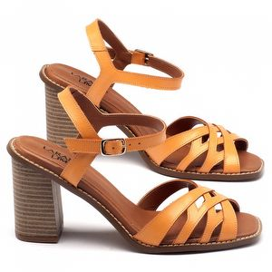 Sandália Salto Alto de 9cm em couro laranja 3474