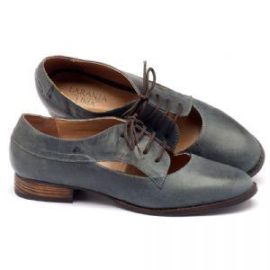 Sapato Retro Estilo Oxford em couro azul stone 9383