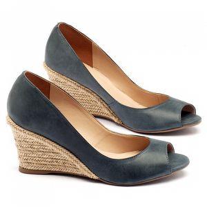 Peep Toe Salto Medio em couro azul stone 9380