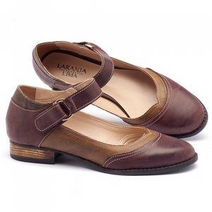 Sapato Retro Modelo boneca em couro bordô, caramelo, café - Código - 9400
