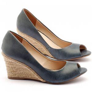 Peep Toe Salto Medio de 7cm em couro azul - Código - 9413