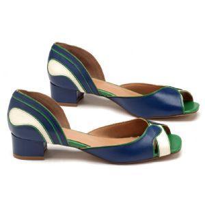 Peep Toe Salto Medio azul e verde  3416