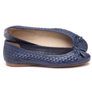 Sapatilha Bico Fechado azul marinho com lacinho 107358