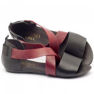 Rasteira Flat em couro preto com vermelho - Código - 137131