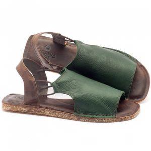 Rasteira Flat em couro marrom e verde - Código - 141043