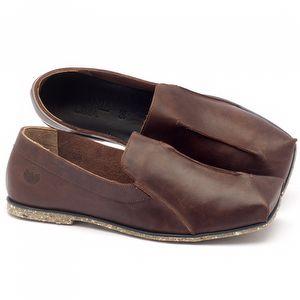 Sapato Retro Estilo Boho-Chic em couro café - Código - 145003