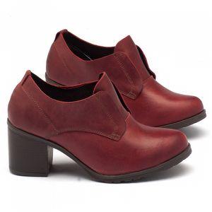 Sapato Retro Estilo Boho-Chic em couro vermelho com salto de 6cm 137041