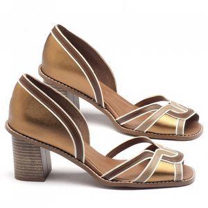 Sandália Salto médio de 6cm em couro bronze - 3491