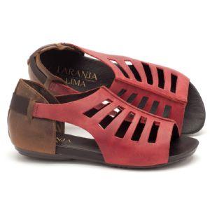 Rasteira Flat vermelho e marrom em couro 137007