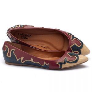 Sapatilha Bico Fino em peças de couro de tres cores 3426