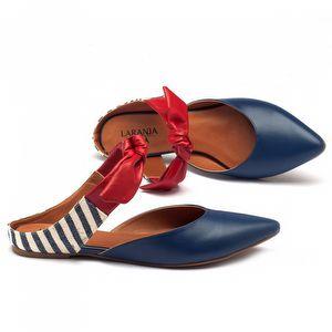 Sapatilha Bico Fino em couro azul, vermelho e tecido listrado 3467