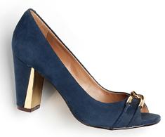 Peep Toe Salto Alto Azul Bridão dourado 38621