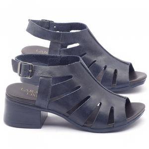 Sandália Boho em couro azul com salto de 5cm - 137076