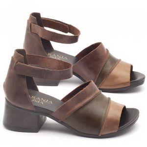 Sandália Boho em couro oliva e marrom com salto de 5cm - Código - 137079